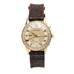 Vintage Movado Triple Date Calendar 14kt Gold Filled Case w/Strap Dial
