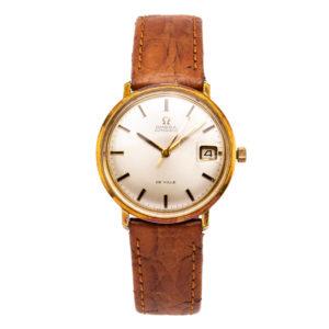 Vintage Omega De Ville 14kt Gold Filled Case w/Brown Leather Strap - 166.033 Dial
