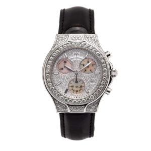 TechnoMarine Ladies Diva Chronograph 18kt White Gold w/Pave Diamond Dial - Dial
