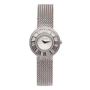 Tiffany Ladies Atlas 18kt White Gold w/White Dial & Diamond Bezel Dial